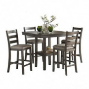 Homelegance 5-Piece Pack Counter Height Dinette Set, Gray