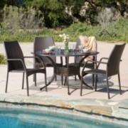 Bessemer Outdoor 5pcs Cast Aluminum Wicker Dining Set