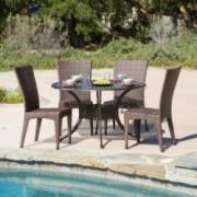 Anniston Outdoor 5pcs Cast Aluminum Wicker Dining Set