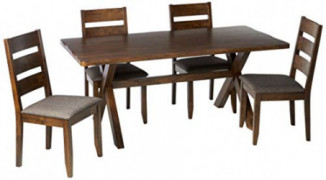 Coaster Home Furnishings Alston 5-Piece Dining Set with Trestle Table Knotty Nutmeg and Grey