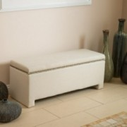 Hudson Ivory Fabric Storage Ottoman Bench