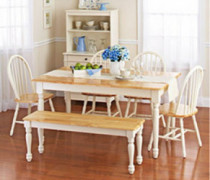 White Dining Room Set with Bench. This Country Style Dining Table and Chairs Set for 6 Is Solid Oak Wood Quality Construction