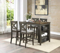 OSP Home Furnishings Century 5-Piece Dining Set, Slate Grey