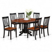 East-West Furniture AVAT7-BLK-W 7-piece dining table set 6 Great kitchen chairs - A Beautiful round kitchen table- Wooden Sea
