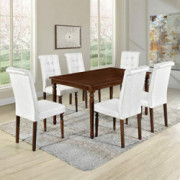 Merax Set of 7 Dining Table Set Wood Rectangular Kitchen Table with 6 High Back Upholstered Dining Chairs, Brown Table + Beig