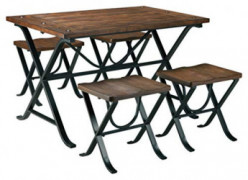 Ashley Furniture Signature Design - Freimore Dining Room Table and Stools - Set of 5 - Medium Brown Wood Top and Black Metal