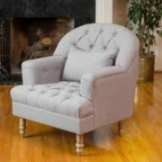 Nelson Grey Tufted Fabric Arm Chair