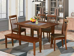 6-Pc Dining room set with bench -small Table with 4 Dining Chairs and Bench