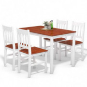 Giantex 5 Piece Wood Dining Table Set 4 Chairs Home Kitchen Breakfast Furniture  White&Walnut