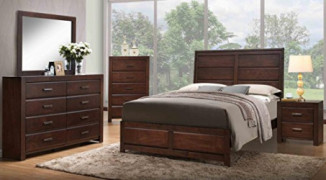 Kings Brand Furniture Aurora 6-Piece Walnut Wood Queen Size Bedroom Set. Bed, Dresser, Mirror, Chest, 2 Nightstands