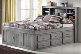 Discovery World Furniture Charcoal Full Size Bookcase Captain Bed with 6 Drawer Storage on ONE Side Opposite Side is Open