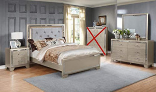 GTU Furniture Contemporary Metallic Gold and Silver Style Wooden 4Pc Queen Bedroom Set Q/D/M/N