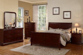 Poundex Louis Phillipe Cherry Queen Size Bedroom Set Featuring French Style Sleigh Platform Bed and Matching Nightstand, Dres
