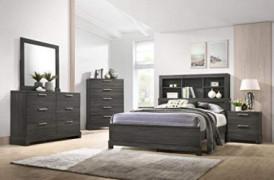 GTU Furniture Contemporary Bookcase headboard Bedroom Set  Queen Size Bed, 5 Pc