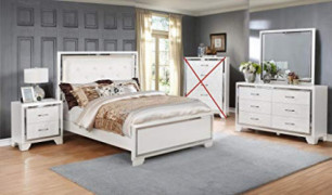 GTU Furniture Contemporary White and Silver Style Wooden Queen Bedroom Set  Queen Size Bed, 4Pc