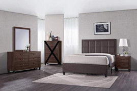 GTU Furniture Contemporary Styling Warm Brown 4Pc Queen Bedroom Set Q/D/M/N