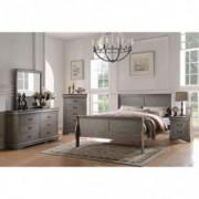 Acme Furniture Louis Philippe 4-Piece Bedroom Set, Antique Gray Queen