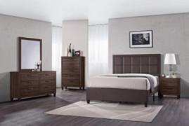 GTU Furniture 4Pc Queen Size Wood Bedroom Set, Bed + Night Stand + Mirror + Dresser  Old Wood