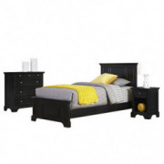Home Styles Bedford Black Twin Bed, Nightstand, and Chest with Hardwood Construction, Four Drawer Chest, Felt-lined Chest Dra