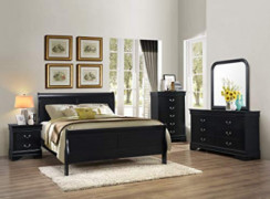 GTU Furniture 5pc Queen Size Sleigh Bedroom Set Louis Philippe Style in Black Finish  Black