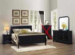 GTU Furniture Classic Louis Philippe Styling Black 4Pc Queen Bedroom Set Q/D/M/N