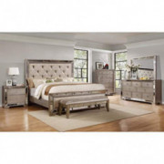 Best Master Furniture Ava Mirrored 6 Pcs Bedroom Set With Bench, E. King, Silver/Bronze