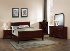 GTU Furniture Classic Louis Philippe Styling Deep Cherry 4Pc Queen Bedroom Set Q/D/M/N