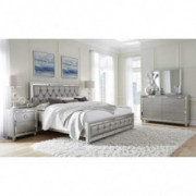 Global Furniture USA Riley Bedroom Set - 5pc, Silver, Includes Inside Delivery with Assembly to Room of Choice  Queen