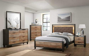GTU Furniture Striking Two Tone Wooden 5Pc King Bedroom Set K/D/M/N/C