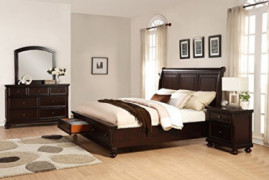 Roundhill Furniture Brishland Storage Bed Room Set, Queen, Rustic Cherry