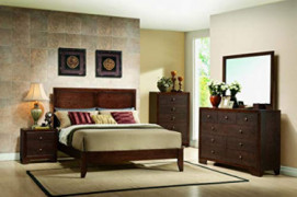 Kings Brand Furniture - Dark Merlot Queen Size Bedroom Set. Bed, Dresser, Mirror, Chest & 2 Night Stands