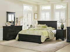 INSPIRED by Bassett Farmhouse Basics King Bedroom Set, Rustic Black