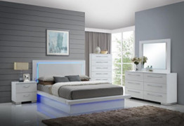 NCF Furniture Saturn Contemporary 4 Piece Queen Bedroom Set in White Lacquer High Gloss Finish with LED Lights