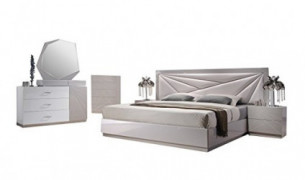J&M Furniture Florence White & Taupe Lacquer Queen Platform Bedroom Set