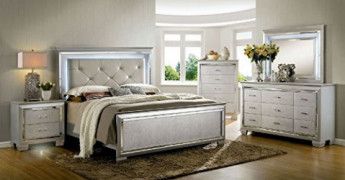Bellanova Collection Contemporary Crocodile Textured Details Padded Tufted Leatherette HB Queen Size Bed w LED Dresser Mirror