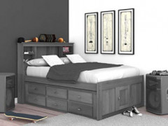 Discovery World Furniture Charcoal Full Bookcase Bed with 6 Drawers