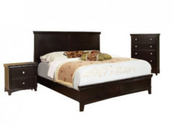 Furniture of America Pasha 3-Piece Queen Platform Bedroom Set with Nightstand and Chest, Espresso Finish