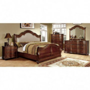 Carefree Home Furnishings Bellavista Traditional Elegant Style Brown Cherry Finish King Size 6-Piece Bedroom Set