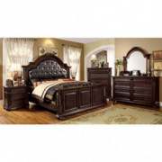 Carefree Home Furnishings Esperia Luxurious English Style Brown Cherry Finish King Size 6-Piece Bedroom Set