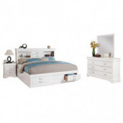 acme White Furniture Louis Philippe III 4-Piece Storage Bedroom Set Queen