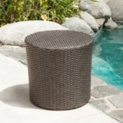 Overton Outdoor Dark Grey Wicker Barrel Side Table
