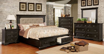Roisin Transitional Style Wire Brushed Black Finish King Size 6-Piece Bedroom Set