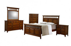 Sunset Trading Tremont Bedroom Set, King, Warm chestnut with satin gloss finish