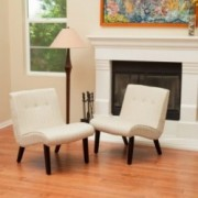 Oksana Oatmeal Beige Slipper Chairs (Set of 2)