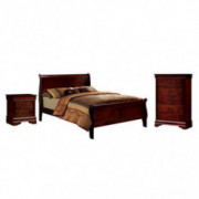 HOMES: Inside + Out 3 Piece ioHOMES Nathanial Contemporary Bed Set, Full, Cherry
