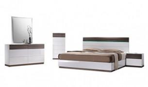 J&M Furniture Sanremo B Modern King Bedroom Set in Walnut & White, 5-Piece