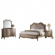 Acme Furniture Chelmsford 4-Piece Bedroom Set, Tan Fabric and Antique Taupe Tan/Antique Taupe Queen