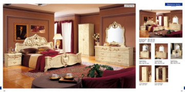 ESF Barocco Traditional Ivory Color Classic Italian King Size Bedroom Set