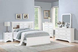 Esofastore Classic Modern Bedroom Furniture 4pc Set Full Size Bed Dresser Mirror Nightstand White Color Birch Veneer Wood