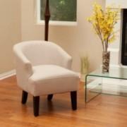 Luciana Beige Putty Linen Accent Chair